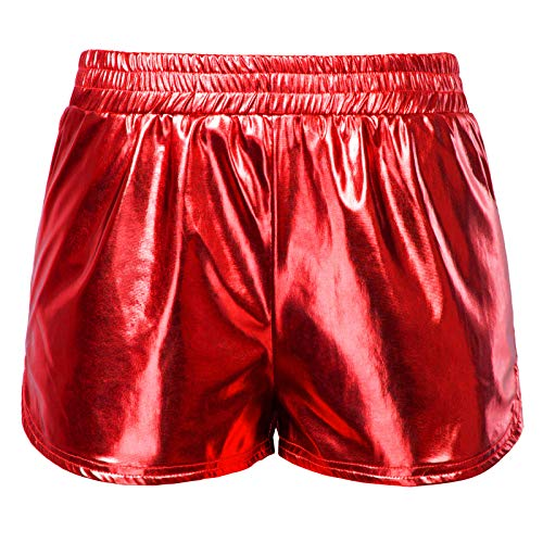 Kate Kasin Shiny Metallic Hot Pants Lässige Lose Yoga Shorts Rot (862-6) Large -