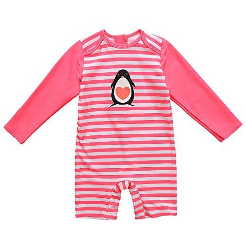 CharmLeaks Baby - Einteiler Langarm Badeanzug für Säugling Kinder mit Pinguin Druck und Streifen UV-Schutz 50+ 12-18 Monate