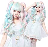 L-email wig™60cm-65cm polychrome decoration ladies long curly synthetic Lolita clip on ponytails cosplay anime hair wig for women (GHW15A)
