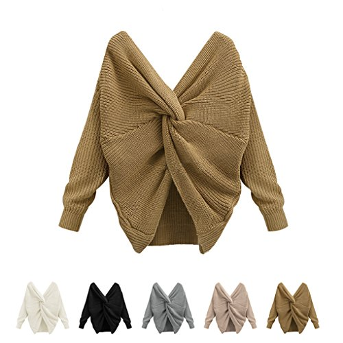Masterein Sexy Backless Reversible Off Shoulder Sweater V-Neck Cross Back Femme ¨¤ manches longues Pull Vall¨¦e jaune