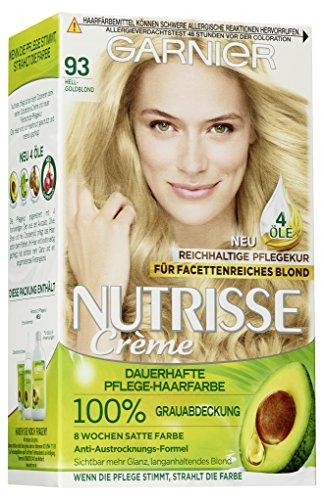 Garnier Nutrisse Creme Coloration Hell-Goldblond 93 / Färbung für Haare für permanente Haarfarbe (mit 3 nährenden Ölen) - 3 x 1 Stück
