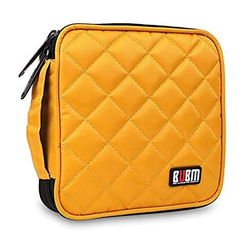 BUBM Portable Water resistant 32 Disc Storage Bag for CD DVD VCD DJ Holder Wallet Case - Yellow