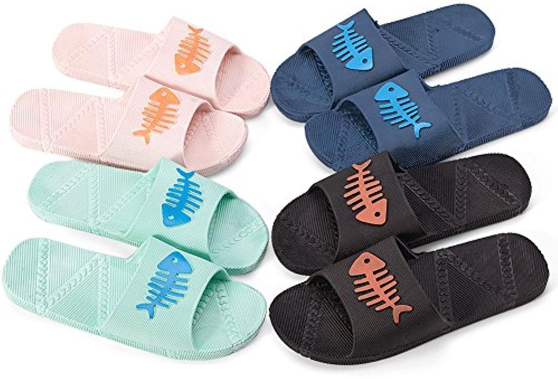 DIKETE 4 Paar Sommer Hausschuhe Männer und Frauen Haushalt Hausschuhe Dusche Sandale Innen Badezimmer Anti Slip