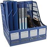 Skyfun Multi Purpose Foldable Plastic Document/File / Magazine/Book Holder Storage Desk Organizer Rack Stand With 4 Sections (1 Piece,Multi Color)