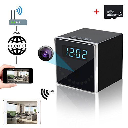 Corprit Wireless Hidden Spy Camera HD 1080P WiFi Home Security Camera Black Cube Table Alarm Clock Surveillance Baby Monitor Camera,16GB Micro SD Card Included