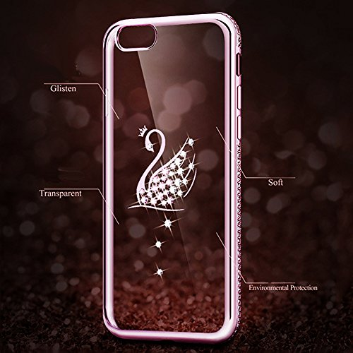 iPhone 6sPlus Custodia Sveglio, Soft TPU Gel Cover per iPhone 6Plus, MAOOY Shell Placcatura Edge in Lucido di Cristallo di Scintillio Strass Shock Absorption Protettiva Trasparente Ultra Sottile Chic  Cigno Rose Gold