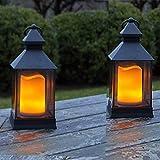 2 er Set (= 2 Stück) Romantisch dekorative LED Laternen 24 cm x 10 cm - mit LED - Kerze flackernd -...