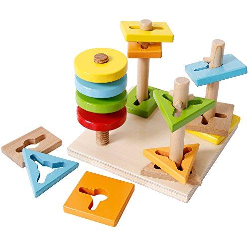 SGILE Holz Bauklötze Set Bunte Holzbausteine Konstruktions-Spielzeug Set Pädagogische Baukasten für Kinder Kleinkind Sortierung Stapeln Spielzeug Kindergeschenk