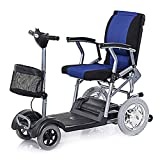 L.TSA Light And Compact, Foldable,4 Wheel Power Electric Travel And Mobility Scooter,46Cm Wide Seat,27Kg,Black Blue