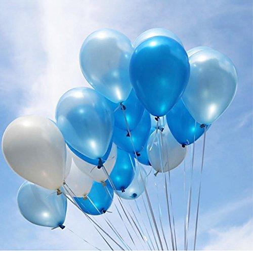GuassLee 3 Farben sortierte 150pcs / pack 10 Zoll Latex-Ballone 1.8 Grams Verdickung-Perlen-Ballone für Hochzeits-Geburtstagsfeier-Dekorationen (weiß + hell blau + dunkel blau) (10 Sortierte Bälle)