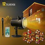 CACAGOO CACAGOO Halloween Weihnachten LED Projektorlampe, 12 Folien Projektor,Innen/Außen IP65 Wasserdichte Außenbeleuchtung Weihnachten Licht Projektor mit Fernbedienung zum Party Urlaub