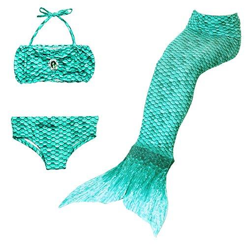 Yigoo Mädchen Cosplay Kostüm Badebekleidung Meerjungfrau Shell Badeanzug 3pcs Bikini Sets Tolle Geschenksidee Grün 130