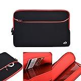 Kroo Housse souple en néoprène pour ordinateur portable HP Omen 15–5001na/5000na et ordinateur portable 15- 15,6pouces Poche de rangement à fermeture éclair à l'avant Noir noir/rouge