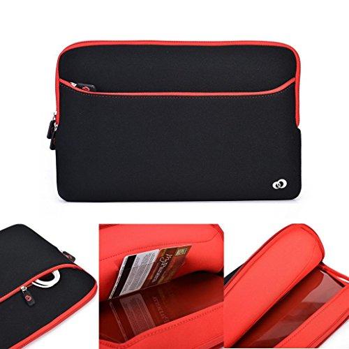 Kroo Laptoptasche, mit Reißverschlusstasche, Neopren, Schwarz, für HP Omen 15–5001NA/ 5000NA, Laptop/ Notebook, passend für 38,1- 39,6 cm Laptops rot schwarz / rot