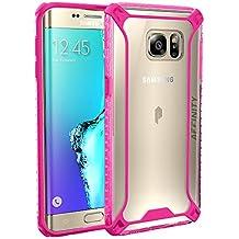 Funda Galaxy S6 Edge Plus - Poetic [Affinity Series]-[Agarre Parachoques TPU] [Protección Esquina] Funda Protectora Hibrida para Samsung Galaxy S6 Edge Plus (2015) Claro/Rosa Ardiente (3 años Garantía del Fabricante Poetic)
