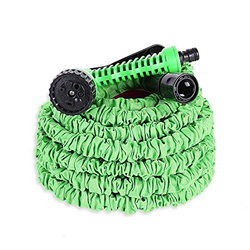 Ohuhu Ausziehbarer Schlauch mit 7-Phasen-Düse, Gartenteichschlauch Dehnbar, Flexibler Gartenschlauch 15m ausgedehnt, Wasserschlauch Flexibel