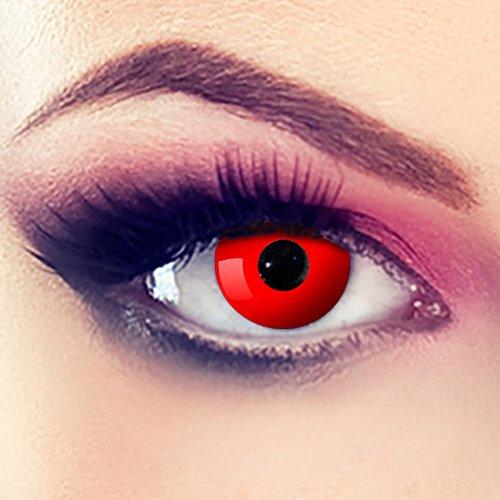 Linsen crazy Fun Halloween Karneval Kostüm Kontaktlinsen Motivlinsen 3 Monatslinsen ohne Stärke Rot - Red Eye (Lustige Kinder-halloween-filme)
