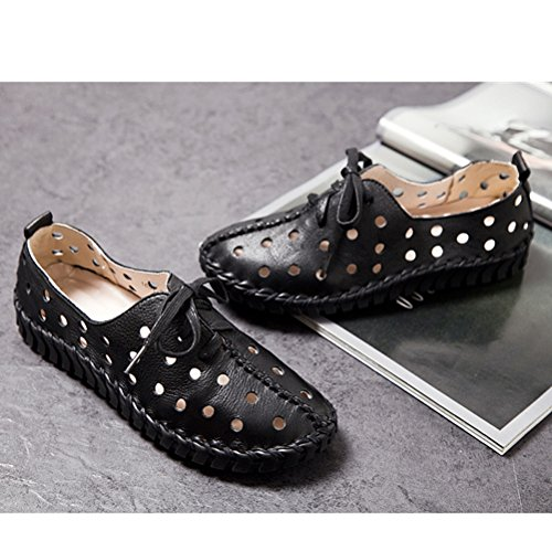 Vogstyle Damen Neu Hohl Mokassins Flach Loafer Slipper Schuhe Style 6 Schwarz