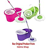 #9: HOLM'S Best Homes 360° Spin Floor Cleaning Easy Magic Plastic Bucket Mop with 2 Microfiber Heads(Color May Vary)