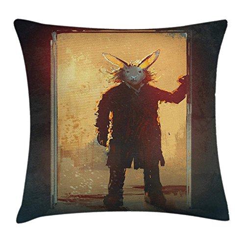 shizh Dekokissen Kissenbezug Mann mit Kaninchen-Maske an der Tür-geistigen Leute-Acrylfarbe Pillow Case 45x45 cm,Gelb Schwarz