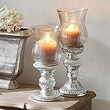 Loberon Kerzenständer 2er Set Luisant, Dekoration, Glas, H/Ø ca. 35/12,5 cm, Klar/Silber