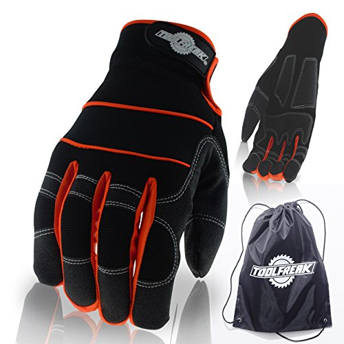 ToolFreak Arbeitshandschue Gepolsterte Handflächen zur besseren Aufnahme von Vibrationen und für einen rutschfesten, komfortablen Griff ,Schützt vor Kerben und Kratzern ,Thermische Unterstützung -
