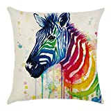 Blue Vessel Regenbogen Baumwoll Leinen Kissenbezug Sofa Throw Kissenbezug Home Decor (Zebra Kopf)