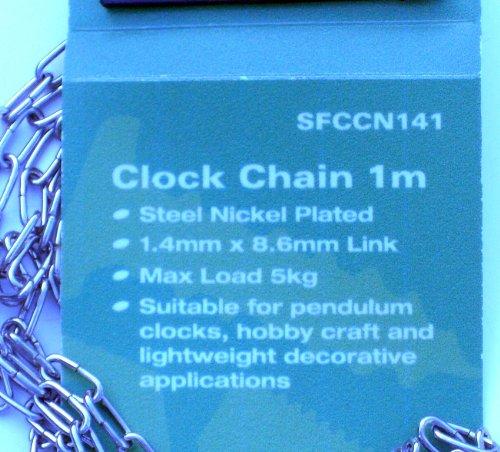 Horloge SupaFix chaîne 1 m 1,4 mm Acier nickelé