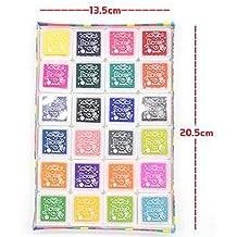 24 colores Tinta para Huellas arte color tinta tampografía sellos para huella digital papel tela niños pintura de DIY Inkpad