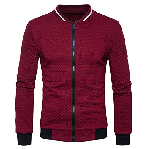 Malloom® Herren Langarm Plaid Strickjacke Zipper Sweatshirt Tops Jacke Mantel Outwear (XL, rot)