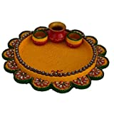 JaipurCrafts Traditional Pooja Thali With Kalash (Wooden, Ceramic)