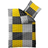 Bettwäsche 155x220 Mikrofaser, Concept Sabine 0011520 Karo-Muster gelb grau schwarz