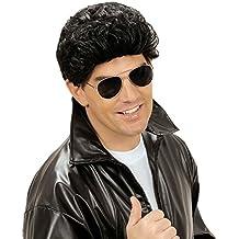 Para hombre Negro peluca 80er años de disfraces de carnaval de colour negro de la peluca