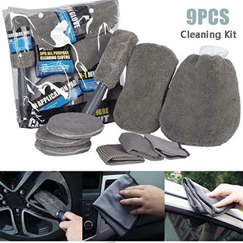 Webla Reinigungswerkzeug, 9PCS Auto Waschset Mikrofaser Reinigungsset Auto Detail Werkzeug, superfeine Faser -