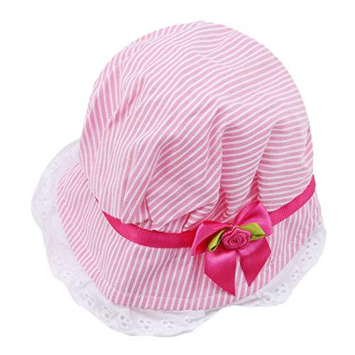 Eleusine Süße Baby Mütze Süße Spitze Bogen Sommer Mädchen Mütze Baby Gestreifte Sonnenhut Kappe Für Kinder (Rose Rot) (Hut Gestreifte Rot)