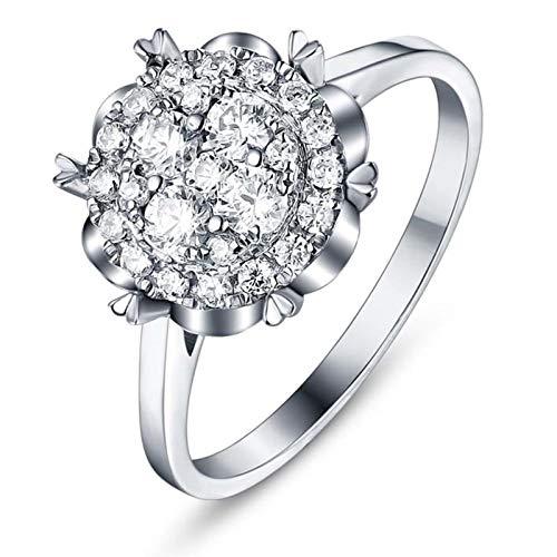 AmDxD Bijoux Bagues de Promettre Femme Or 18K 2ct Fleur Diamant Bague Argent Taille 54