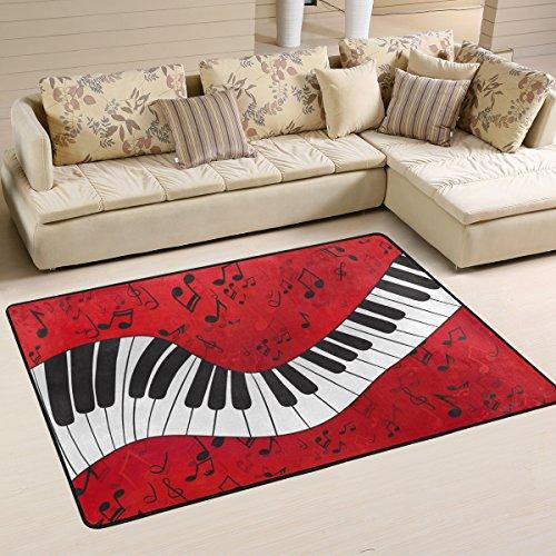 Naanle Rutschfeste Bereich Teppich für Dinning Wohnzimmer Schlafzimmer Küche, 50x 80cm (7x 2,6m), die Musik Note Klavier-Teppich für Kinderzimmer-Teppich Yoga-Matte, multi, 60 x 90 cm(2' x 3')