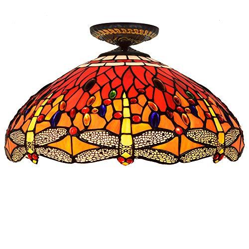 18 Zoll Tiffany Deckenlampe Europäische minimalistische Retro-Deckenlampe Wohnzimmerlampe Korridor Lampe Farbe Glaslampen Schirm E27