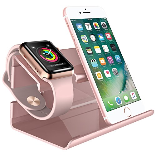 Iphone 8 stand ipad supporto docking station apple watch stand bentoben iphone x stand plastica ricarica posizione 2 in 1 magnetica per apple watch huawei android cellulare e iphone 5 / 6 /7 / 8 / x huawei rosa oro