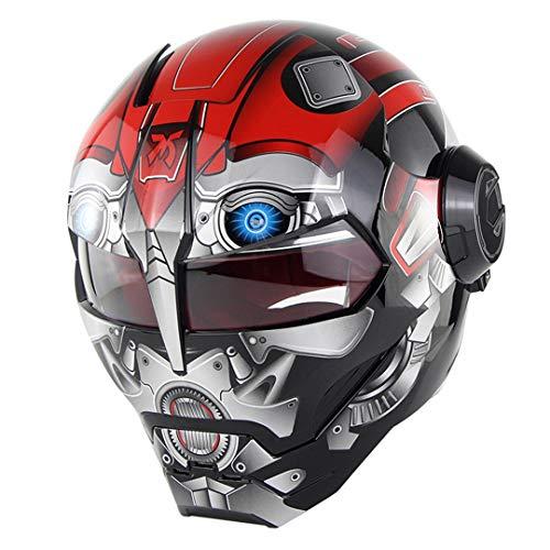 O-Mirechros Casco del Motociclo La Vibrazione Verspa Ironman Skull Robot Moto Casco DOT Soddisfazione Red Robot L