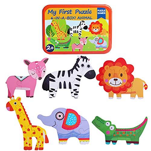 Fcostume 6 in 1 Tierkarikatur-hölzernes Verkehrspuzzle Lernspielzeug für die frühe Kindheit (A)
