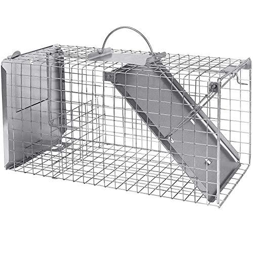 Grande trappola per gatti con attrattivo 50 cm i veloce, semplice, affidabile, resistente alle intemperie e robusta trappola per animali vivi con 1 ingresso per martore, gatto