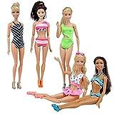 E-TING 5 Sätze Kleider Handgemachte Bademode Beach Bikini Badeanzüge Outfits für Mädchen Puppe Geschenk (Swim Style A)(Puppe Nicht enthalten)