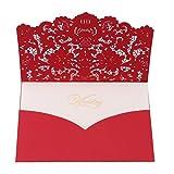 SEVENHOPE 25 Stück Hochzeit EinladungsKarten Geburtstag Taufe Party Glückwunsch Einladung Karten Elegant Spitzenschnitt Design mit Umschläge (Rotes)