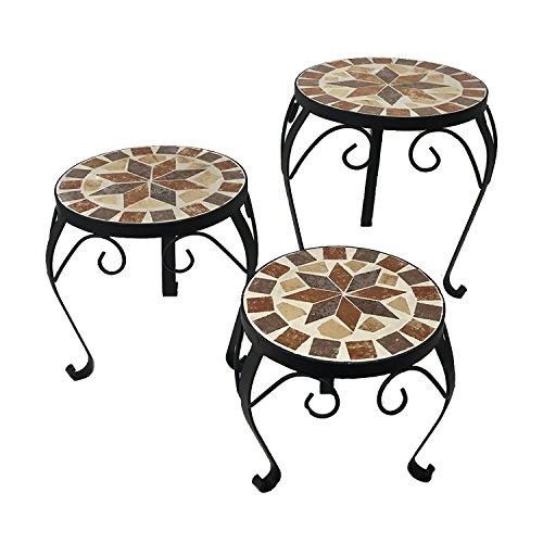 3er Set Mosaiktisch Blumenhocker Blumenregal Beistelltisch Metall Stern rund