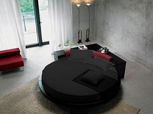 SCALABEDDING rund Bettlaken mit Kissenbezüge, 300TC 100% ägyptische Baumwolle Doppel Durchmesser 80cm SSD schwarz