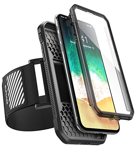 iPhone X Sport (Fascia per il Braccio), SUPCASE Facile Montaggio Sport Armband per Correre con il Tuo Telefono. Custodia Flessibile Premium Combo per iPhone X / iPhone 10 2017 (Nero)