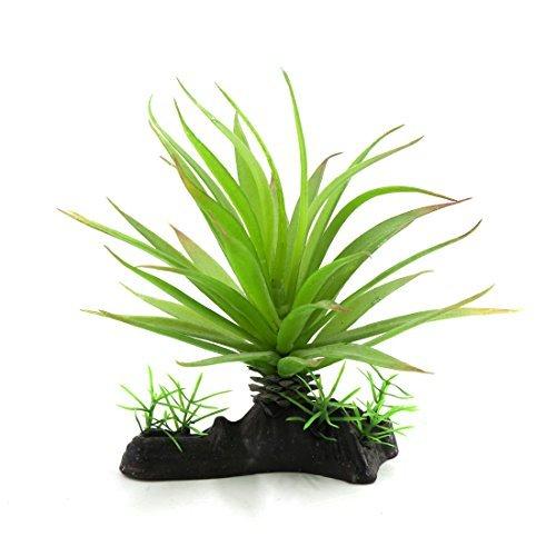 DealMux grüne Kunststoff-Terrarium Blätter Pflanze amphibisch Reptil-Habitat w Keramik-Basis