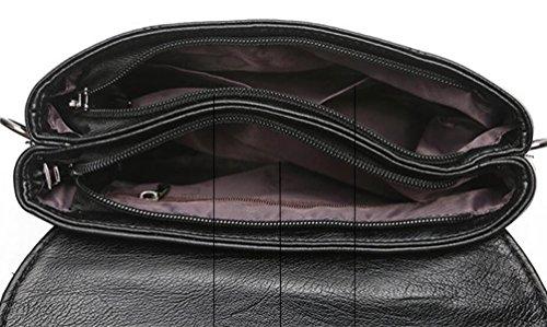 Handtaschen-Art Und Weisetroddel-Verschluss Doppelte Doppelte Schulterbeutel Kurierbeutelart Und Weise Einfaches Temperament Black