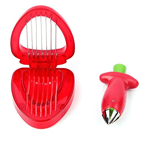 Cpixen Strawberry Combo Set Of Strawberry Slicer & Stainless Steel Cutter Huller Tomato Corers Stem Remover for Salad